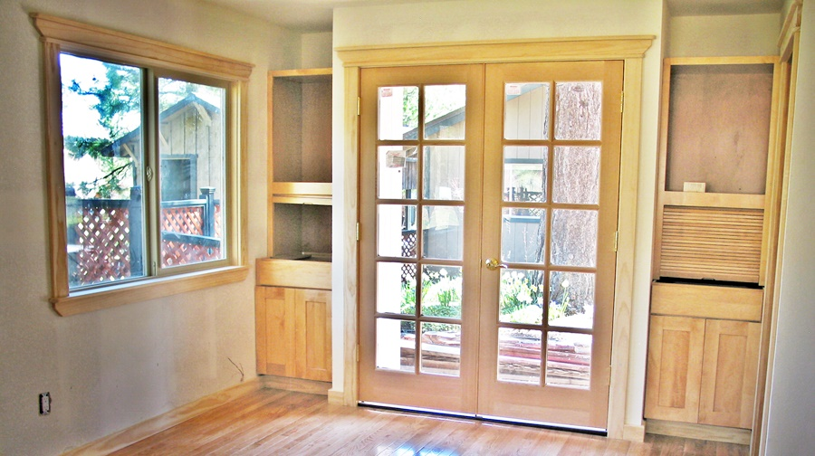 Built-in cabinets flanking french doors, photo altered can a beautiful accessory in any room of your home. built-in cabinets