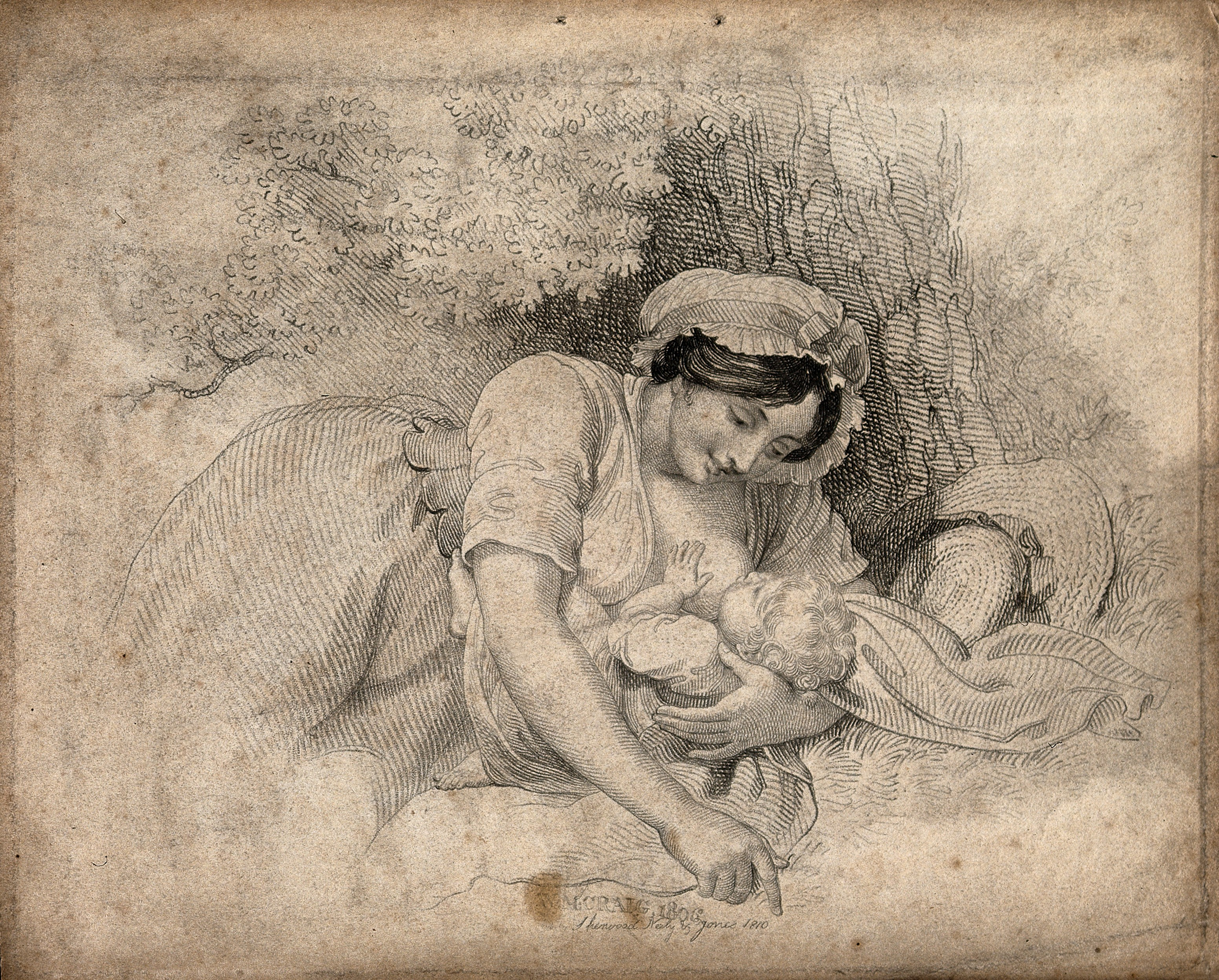 types of architecture - A woman breast feeding her child as an example of Stippling Easy Sketches