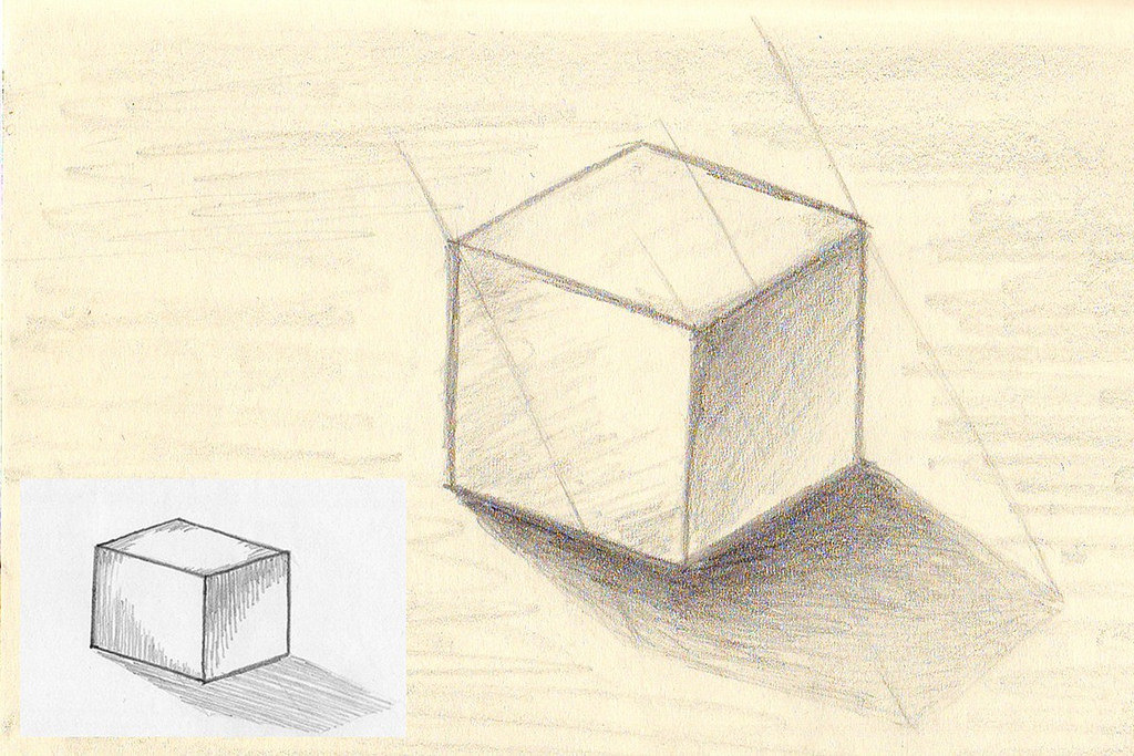 types of architecture - Shading vs Hatching easy sketches as a sign of comparison of two different techniques for shading where the shadow is the same in both drawings