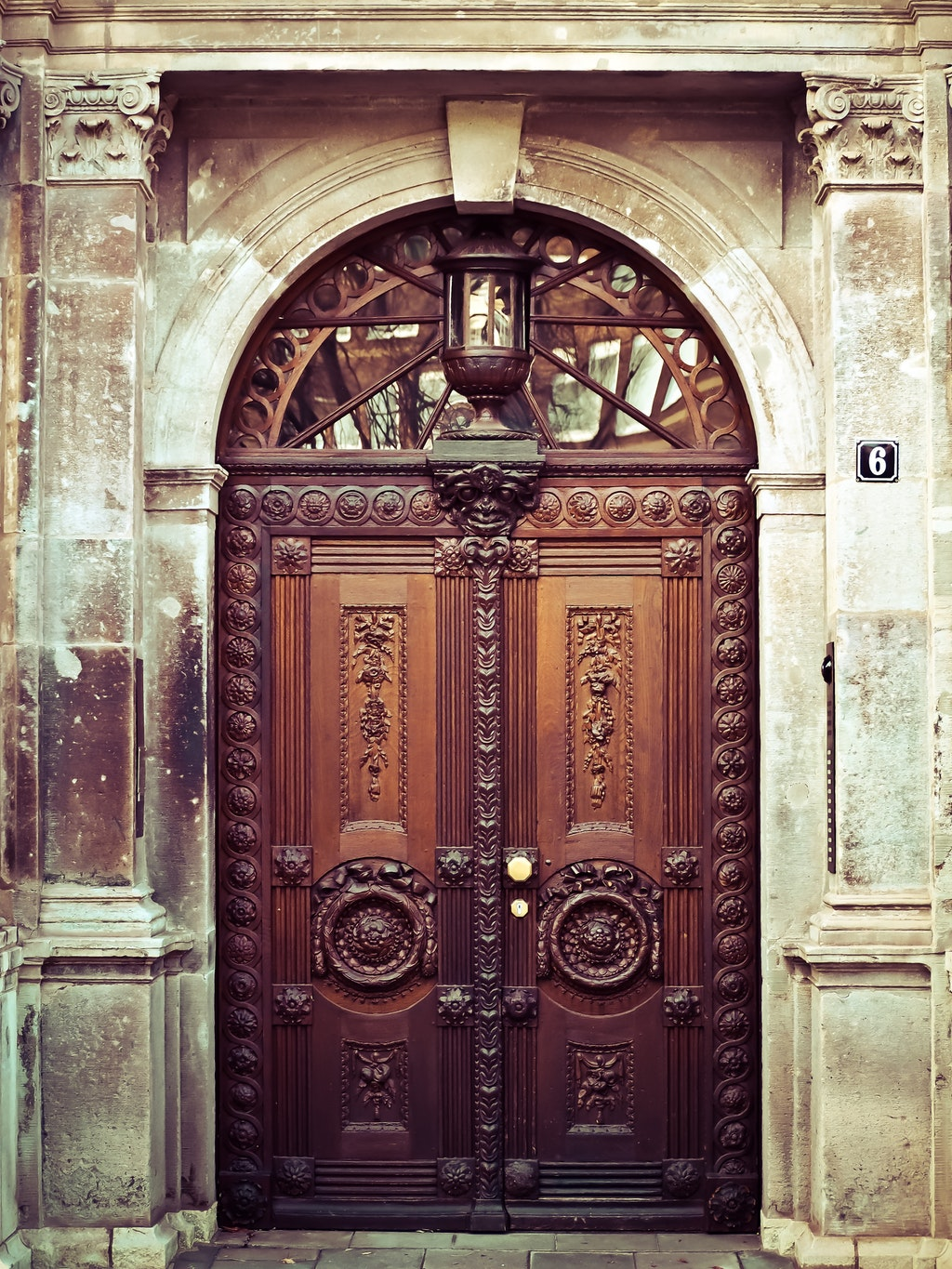 ancient wooden front door