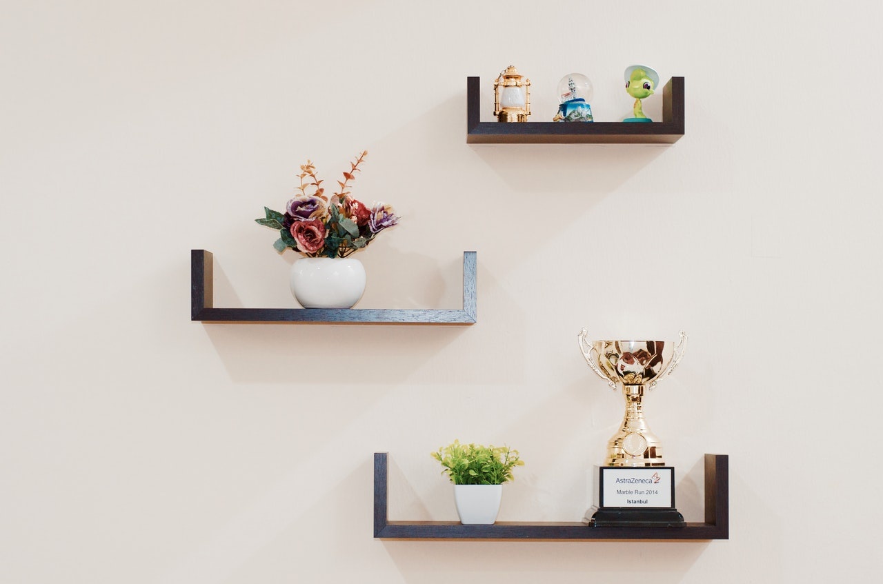 Plants, trophy, figurines on top of a floating wall shelves
