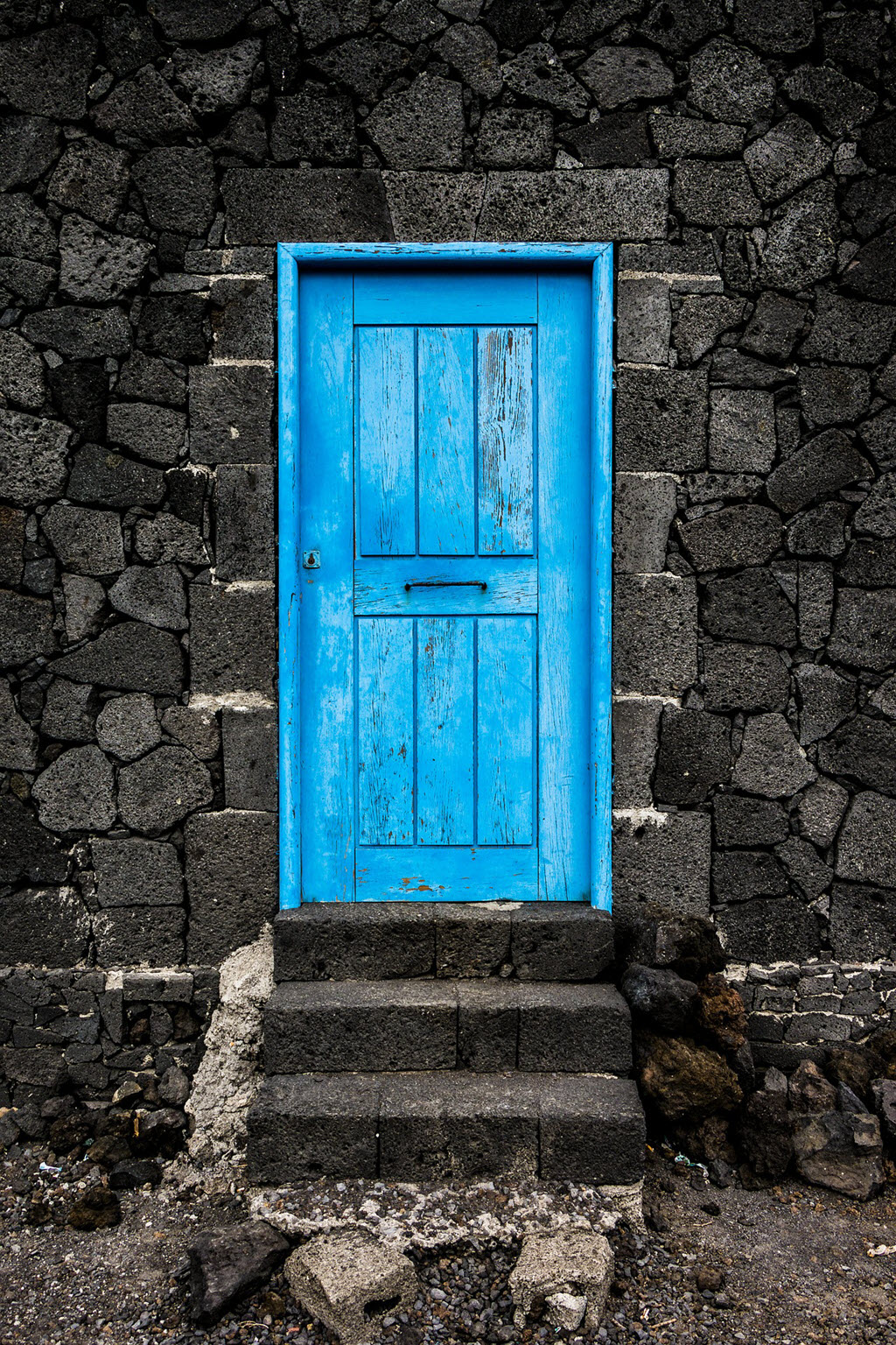 old blue front door